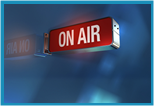 """On Air"" sign from a TV studio."