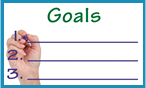 Graphical representation of a list of goals numbered 1 through 3.