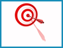 Red and white target with an arrow in the bullseye.